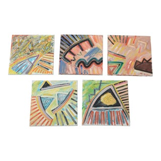 1987 Morten Tøgern Compositions Oil Paintings on Canvas - Collection of 5 For Sale