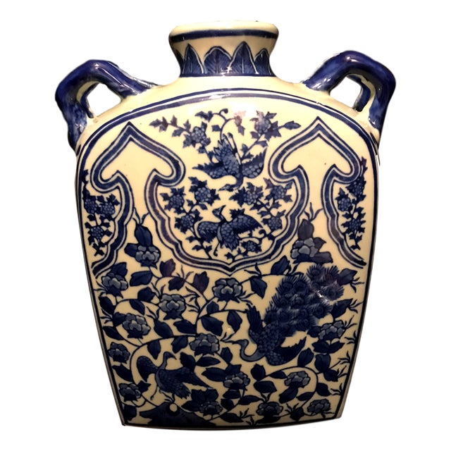 Vintage Chinoiserie Japanese Blue & White Vase Jar Urn For Sale In Miami - Image 6 of 6