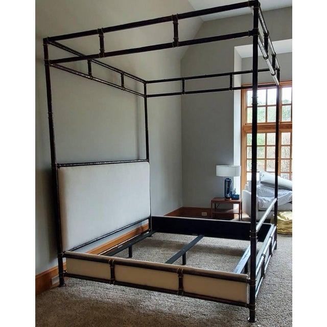 Henredon Furniture Jeffrey Bilhuber Hammered Metal Bank St Queen Canopy Bed For Sale - Image 11 of 13