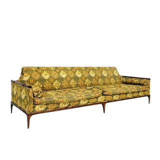 Mid Century Bamboo Framed Monumental Sofa For Sale