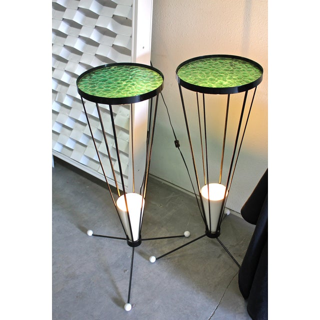 Mid Century 1950s Green Glass Atomic Light Stands - a Pair - Image 2 of 4