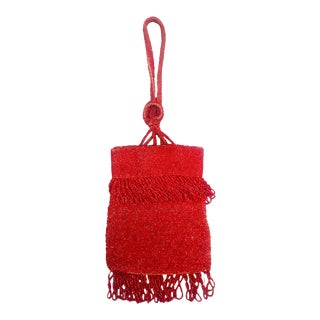 1920s Red Beaded Flapper Wristlet Purse For Sale