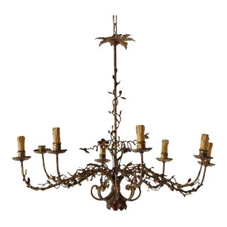 Mid 20th Century Organic Gilded Iron Chandelier For Sale