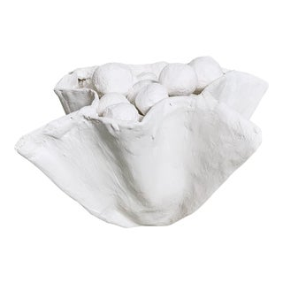 White Plaster Pinch Bowl For Sale