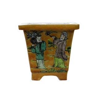 Chinese Yellow Ceramic Eight Immortal Scenery Painting Square Pot For Sale