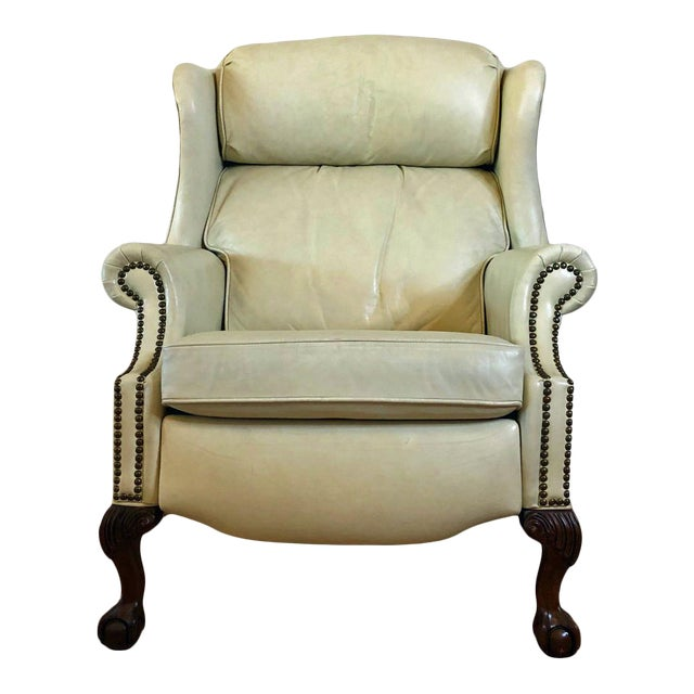 Vintage Bradington Young Leather Wingback Recliner For Sale