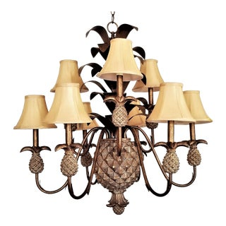 Large Vintage Pineapple Chandelier With Fabric Shades For Sale