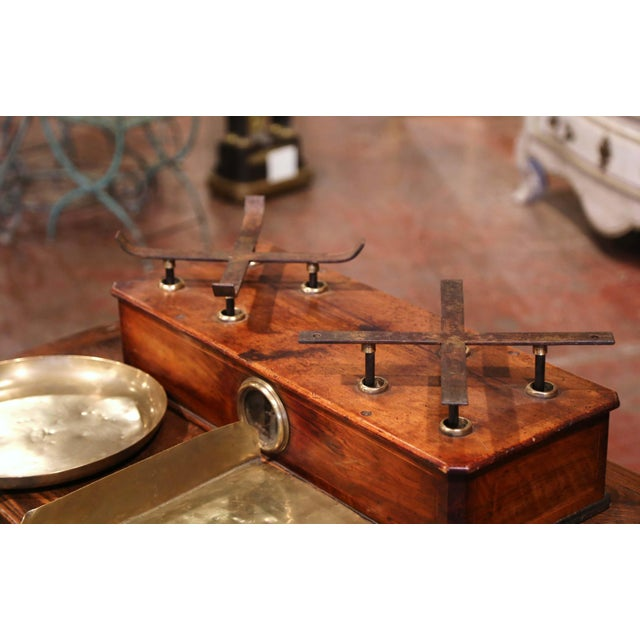 Late 19th Century 19th Century French Napoleon III Walnut and Brass Scale With Set of Weights For Sale - Image 5 of 12