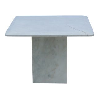 Mid-Century Modern Italian Carrara Marble Square End Table For Sale