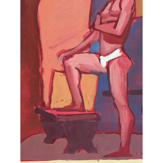 Mid Century Bay Area Figurative Painting Male Standing For Sale In New York - Image 6 of 7