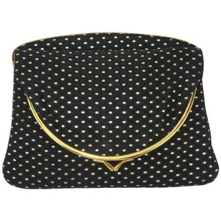 1950's Black & Gold Metallic Brocade Evening Clutch Handbag For Sale