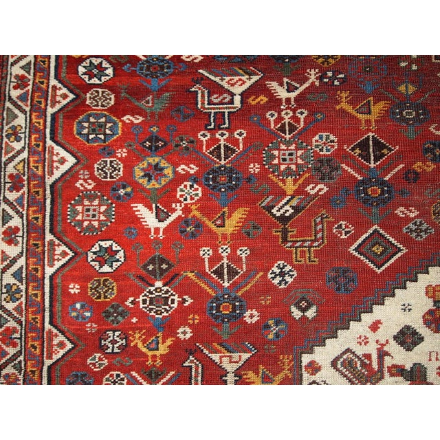 Blue 1870s Hand Made Antique Collectible Persian Khamseh Rug 6.4' X 9.9' For Sale - Image 8 of 10