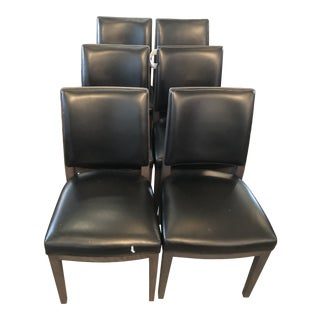 B&b Italia Dining Chair Black Leather & Wood Frame - Set of 6 For Sale
