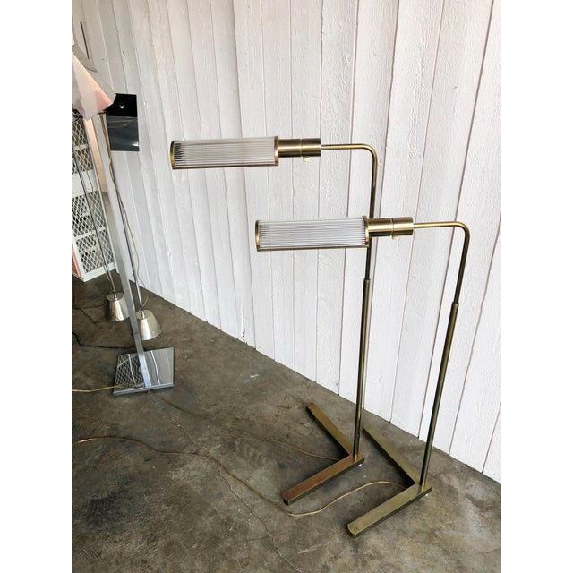 1970s Casella Adjustable Brass Pharmacy Floor Lamps - a Pair For Sale - Image 5 of 10