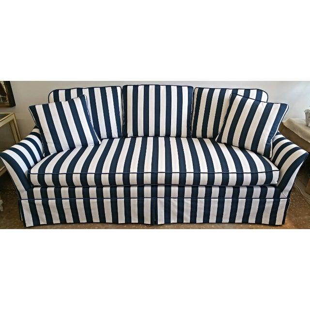 Lillian August Navy White Stripe Sofa - Image 2 of 6