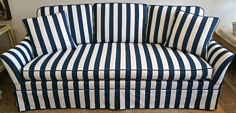 Lillian August Navy White Stripe Sofa   Image 2 Of 6