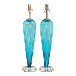 Joe Cariati Glass Teardrop Lamps Blue For Sale