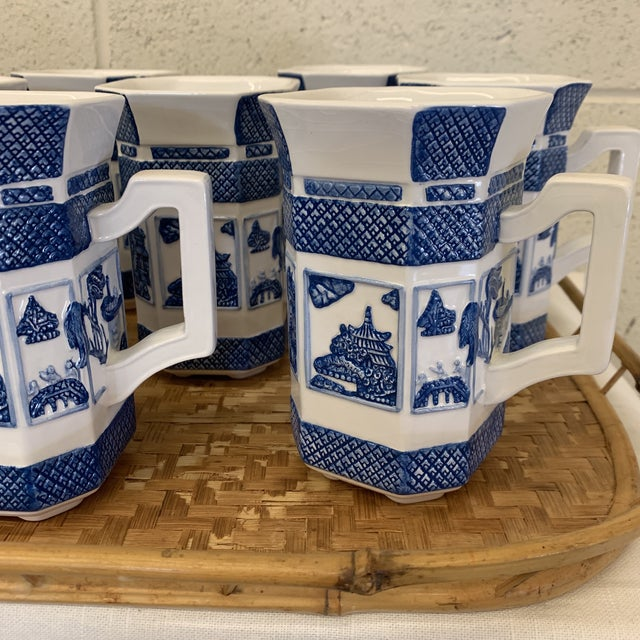 Blue & White Chinoiserie Coffee Mugs - a Set 10 For Sale - Image 9 of 13