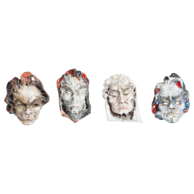 Gray Set of Four Ceramic Masks, Fontana, Italy For Sale - Image 8 of 8