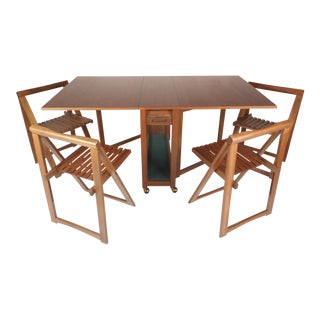 Mid-Century Modern Drop-Leaf Dining Table & Chairs