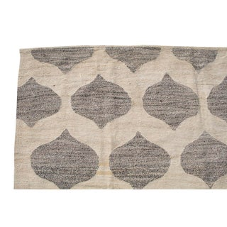 Geometric Turkish Wool Kilim Gray and Ivory- 7′10″ × 9′11″ Preview