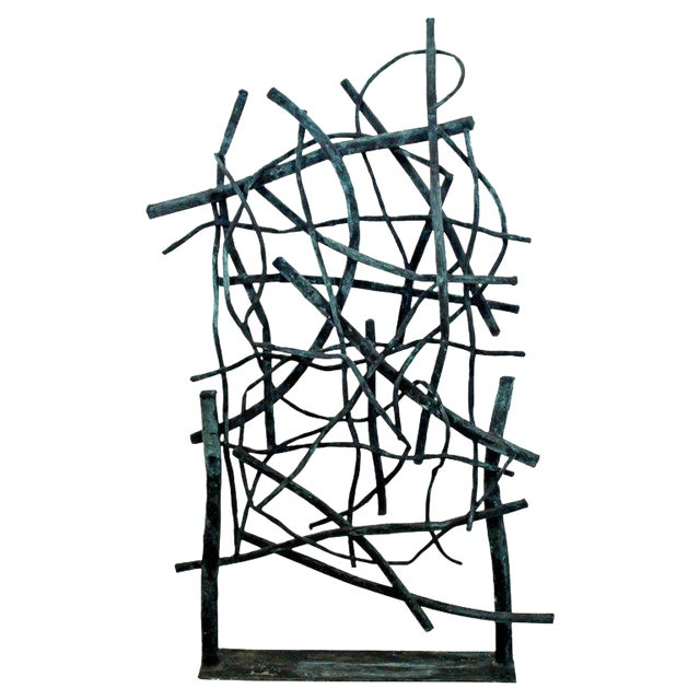 Contemporary Forged Painted Copper Metal Abstract Table Sculpture Robert Hansen For Sale