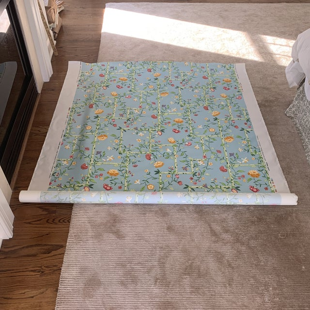Chinese Vintage 1977 Brunschwig & Fils Sky Blue Chinese Bamboo Chintz Fabric- 2 Yards For Sale - Image 3 of 11