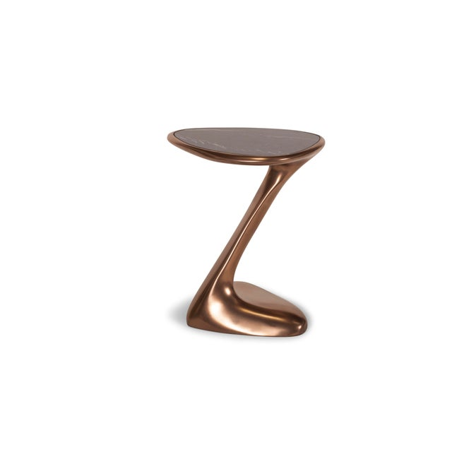 Not Yet Made - Made To Order Palm Side Table in Bronze Finish With Black Marble Top For Sale - Image 5 of 9