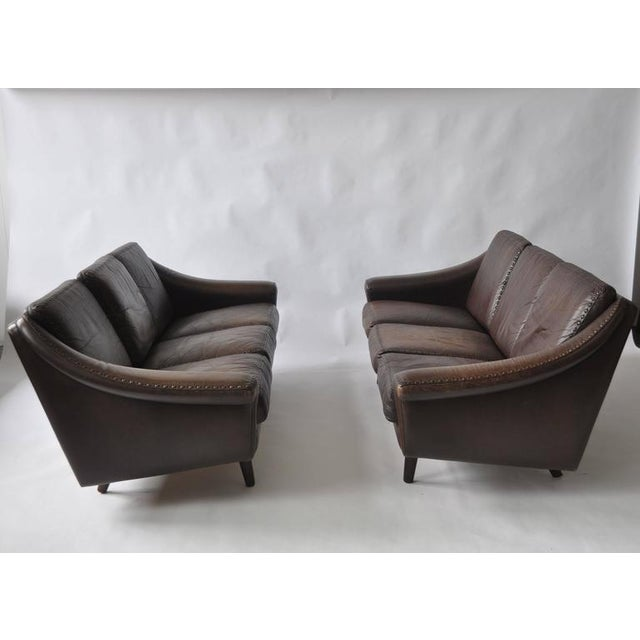 Pair of Aage Christiansen 1960s Danish leather sofas. Produced by Eran Mobler. Price is for the pair but can be sold...