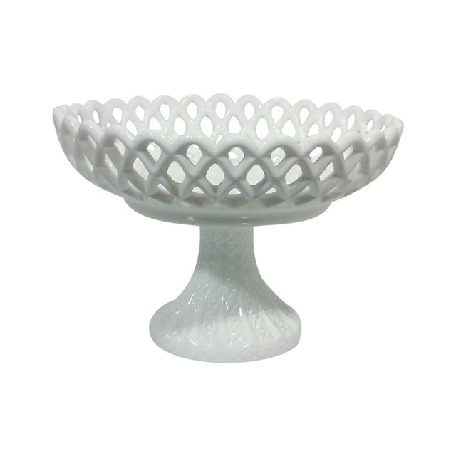 Milk Glass Basket Weave Compote For Sale