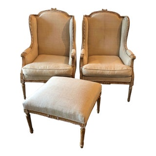18th Century French Wing Chairs and Ottoman - Set For Sale