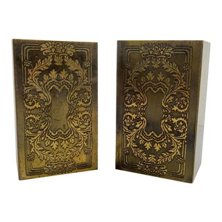 Brass Etched Classical Renaissance Design Bookends - A Pair