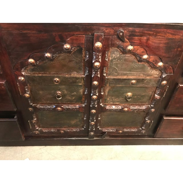Antique Asian Indian Rustic Heavy Metal Hardware Wood Credenza For Sale - Image 4 of 9