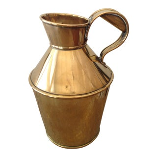 19th C English Brass Jug For Sale