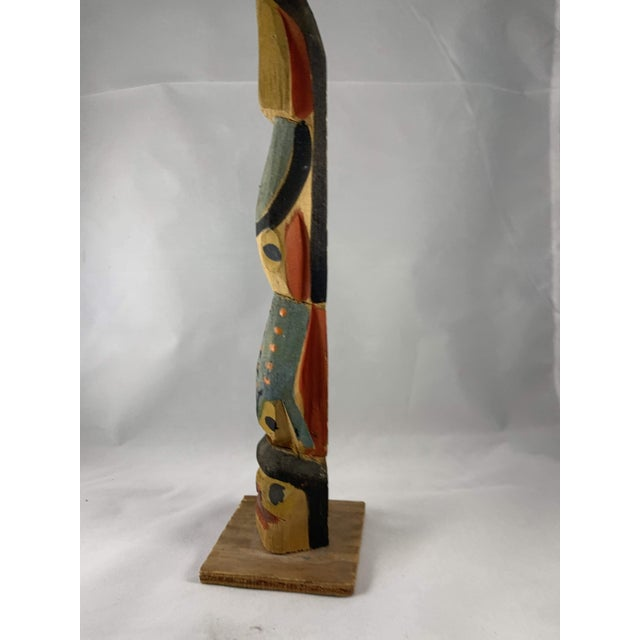 Mid 20th Century Northwestern Miniature Carved Cedar Totem For Sale - Image 5 of 9