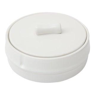 Mid-Century Modern Raymor White Ceramic Box Italian Faux Bamboo For Sale