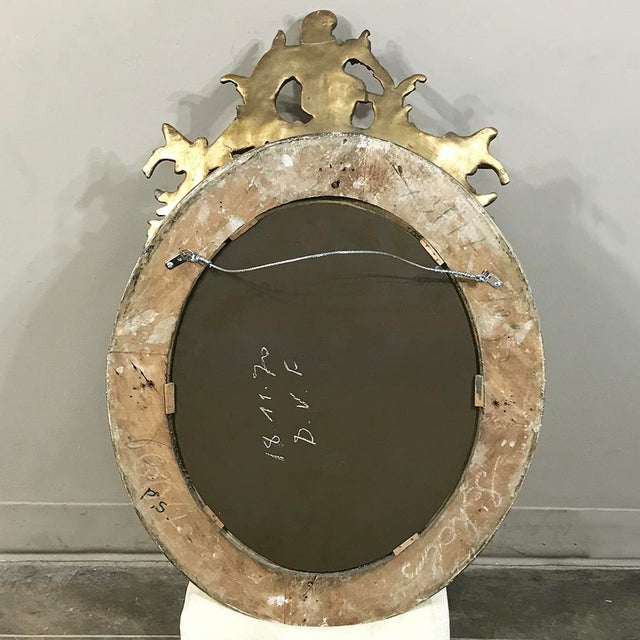 19th Century French Louis XV Gilded Mirror With Cherub For Sale - Image 10 of 11