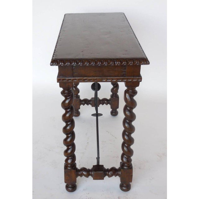 Small scale, petite writing desk with barley twist legs, carved edge and apron detail as well as hand forged iron...
