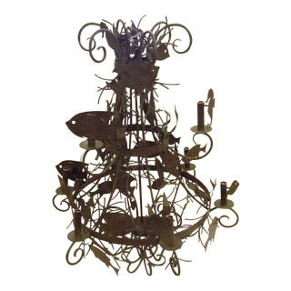 Fish, Seahorse, Kelp and Coral Metal Chandelier For Sale
