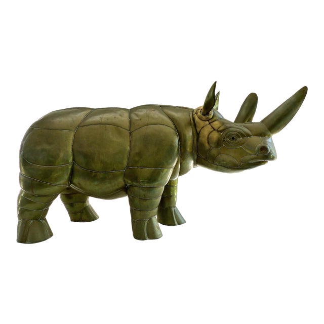 Sergio Bustamante Brass Rhino Sculpture for SerMel For Sale