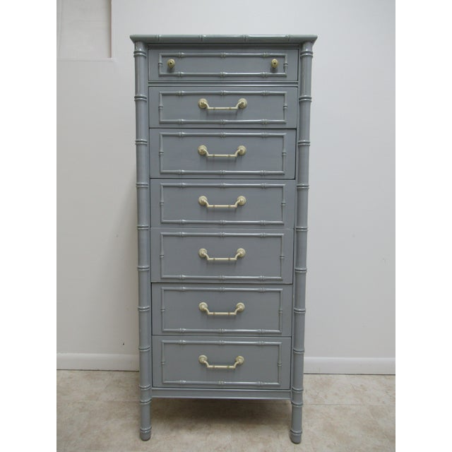 Vintage Thomasville Allegro Faux Bamboo Painted Dresser Lingerie Chest For Sale In Philadelphia - Image 6 of 10