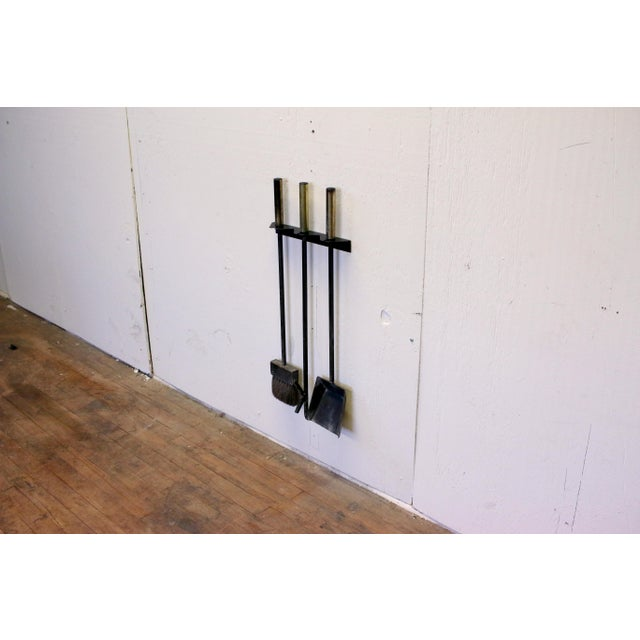 Mid-Century Modern Wall Mounted Brass and Iron Fire Tools For Sale - Image 10 of 10