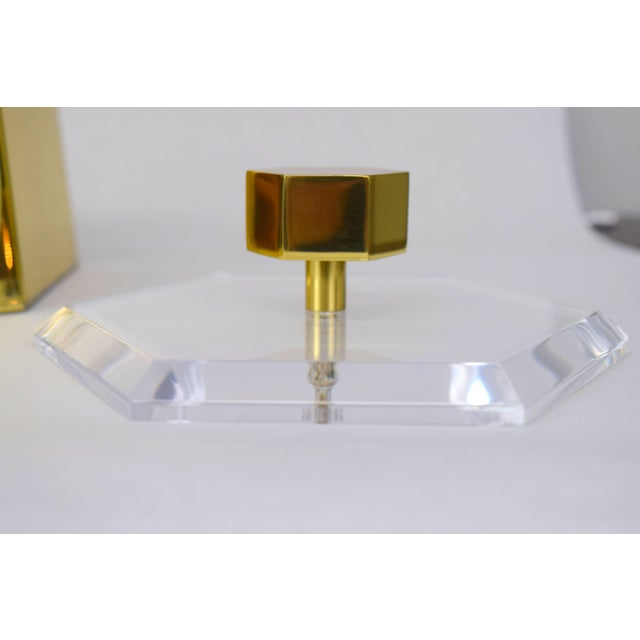 Brass and Lucite Hexagonal Ice Bucket by Charles Hollis Jones For Sale In Chicago - Image 6 of 10