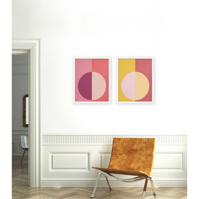 """Set of 2 giclée prints on textured fine art paper with white frames. Set of 2 measures 16"""" x 40""""; individual framed print..."""