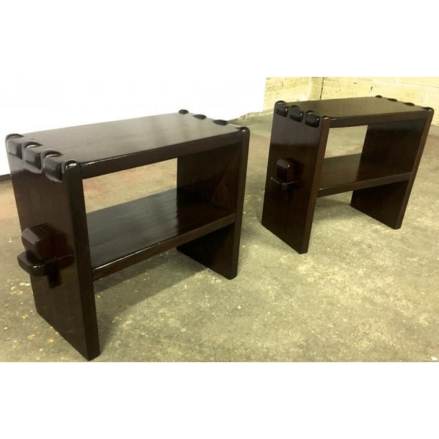 Alexandre Noll rare pair of side table in solid brown mahogany.