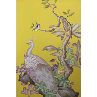 """A Vivid Meditation"" Peacock Chinoiserie Bird Painting by Allison Cosmos For Sale"