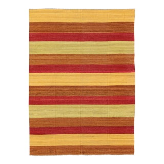 Contemporary Afghan Striped Kilim Rug - 8′6″ × 11′2″ For Sale