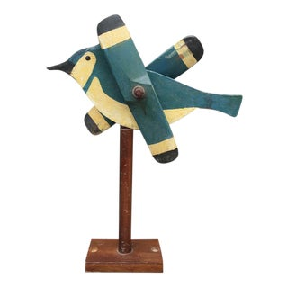 Wooden Blue Jay Whirligig For Sale