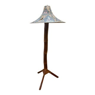 Antique Asian Bamboo Floor Lamp - Silk Shade For Sale