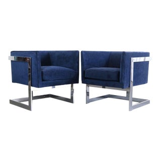 Chrome Club Chairs in Deep Blue by Milo Baughman For Sale